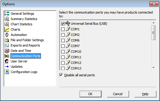 Disable serial ports